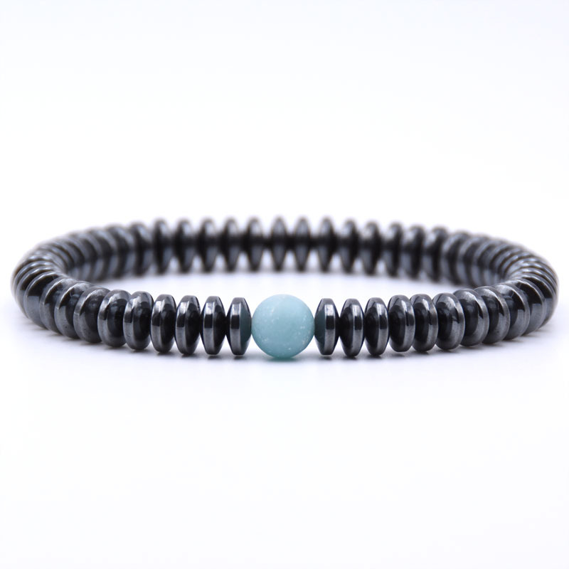 NIUYITID Hematite Bracelet Men\` Jewelry European Fashion Elastic Rope Braclet Women Accessories Charm High Quality (9)