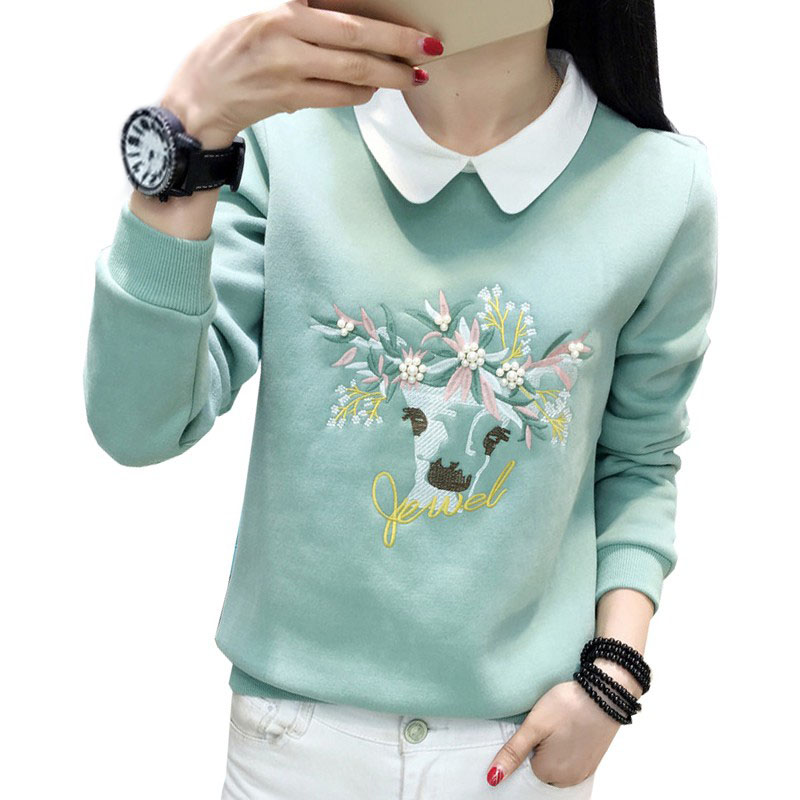 Mode Femmes Shirts Elk Broderie Hoodies Manches Longues pour Femmes Perles Sweat 2018 Rose Turquoise Sudaderas Mujer D0589