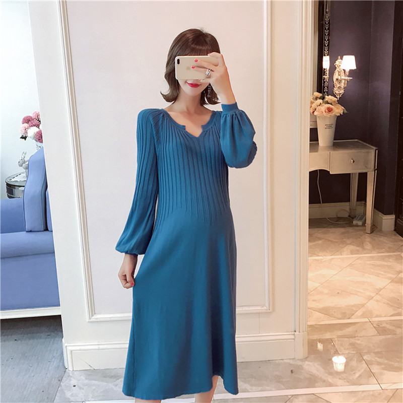 32f91a04ba A963  Autumn Korean Fashion Maternity Dress Large Size Loose Knitted Clothes  for Pregnant Women Fall