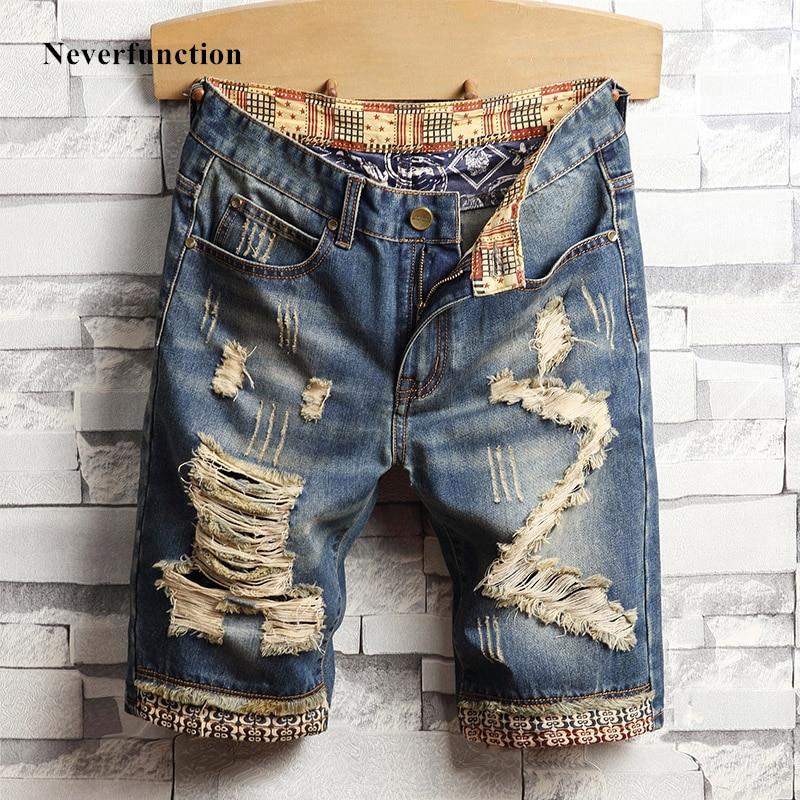 Summer New Vintage Ripped Blue Men Jeans Short Streetwear Bermuda Hip Hop Casual Holes Straight Denim Shorts Size 28-40