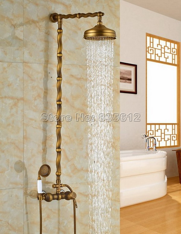 8 inch Rainfall Bathroom Shower Faucet Set Antique Brass Finish Wall Mounted Single Handle Mixer Tap + Handheld Shower Wrs059 bathroom single handle bath shower mixer faucet wall mount 8 rainfall exposed shower mixer height adjustable antique brass