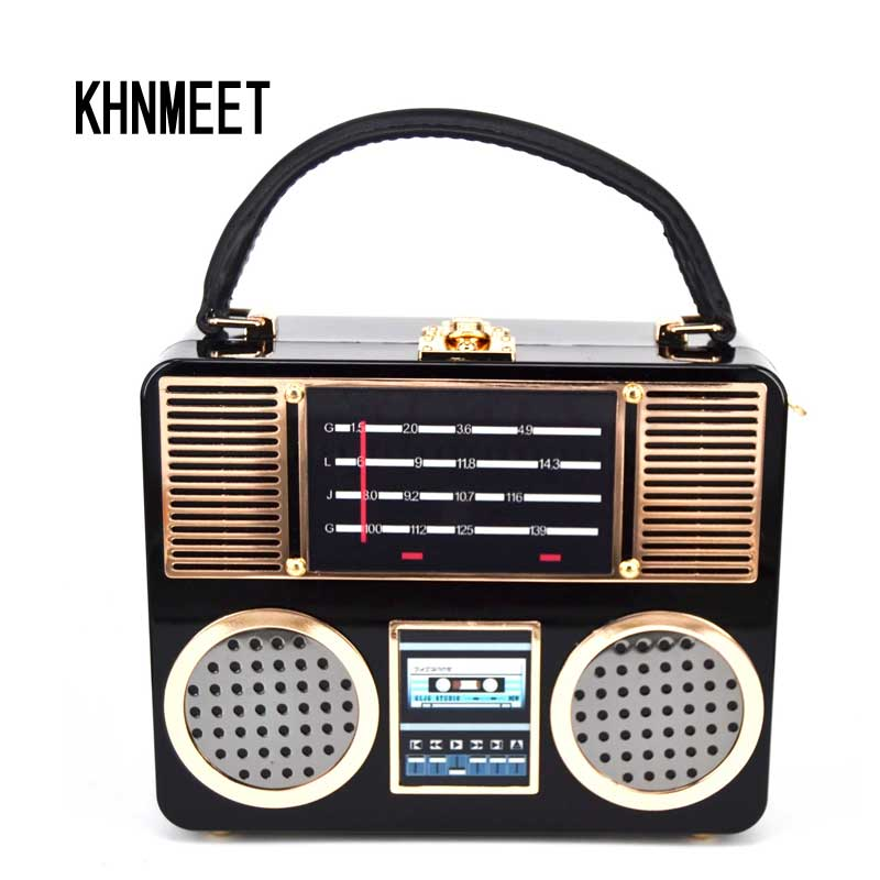 Black Acrylic Radio Box Clutch Bag Fashion Party Box Purse Evening Bag trunk Handbags Female Pochette with Strap Shoulder bag party box black