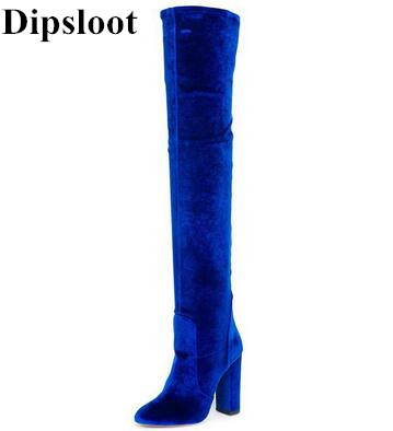 Dipsloot Fall Velvet Over-the-Knee Boots Bright Blue Red Comfortable Velet Thigh High Boots Chunky Heel Women's Fashion Boots