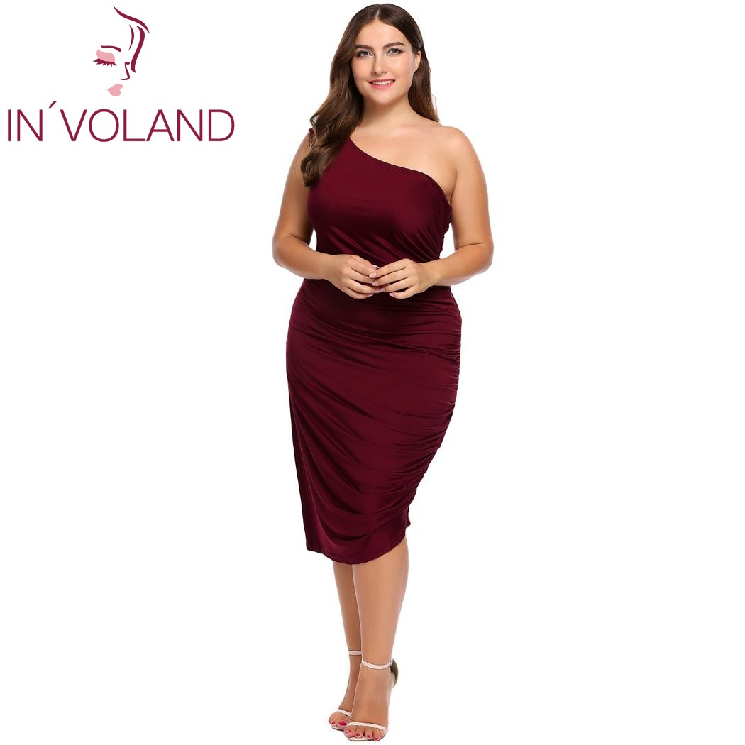 Detail Feedback Questions about IN VOLAND Women Party Dress Plus Size XL  4XL One Shoulder Ruched Large Cocktail Bodycon Slim Pencil Dresses Vestidos  Big ... 14c2937245a3
