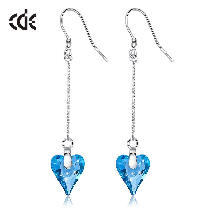 CDE 925 Sterling Silver Earrings Embellished with crystals from Swarovski Heart Drop Earrings For Women Earings Fashion JewelryCDE 925 Sterling Silver Earrings Embellished with crystals from Swarovski Heart Drop Earrings For Women Earings Fashion Jewelry