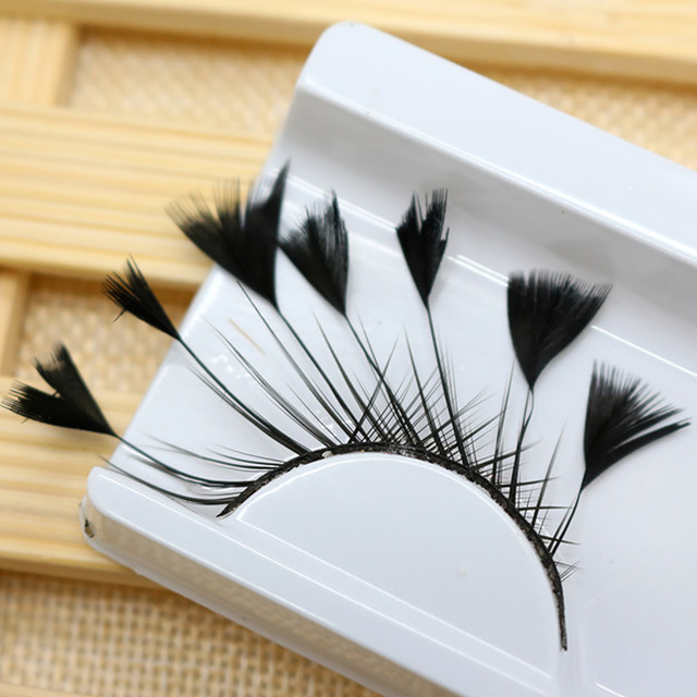1 Pair Masquerade Stage Charming False Eyelash Art Artificial Feather Soft Makeup Party Fashion Exaggerated Tool Long Reusable 2