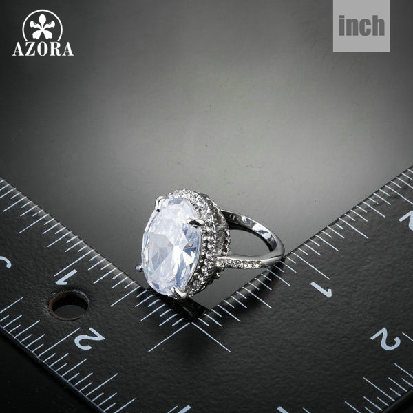 AZORA New Fashion Design With Big Clear Cubic Zirconia Egg Shaped Engagement Ring TR0130