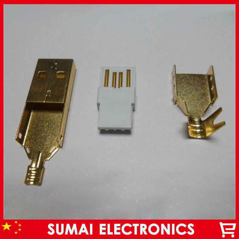 Free shipping 50set lot 3u high quality gold plating DIY USB 2 0 A type male