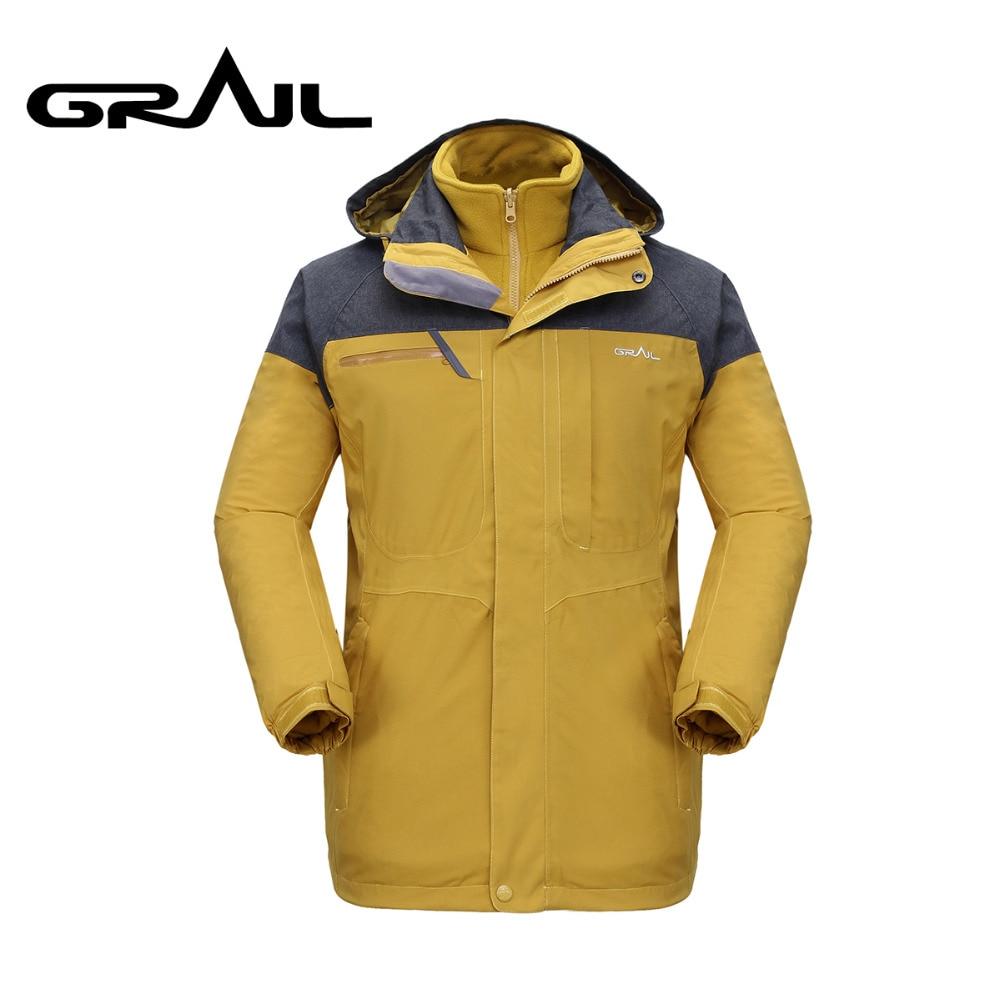 Graal Outdoor Ski Jas 2 In 1 Waterdichte Regen Jas Mannen Wijnrood Groen Geel Hardshell Parka M2105a