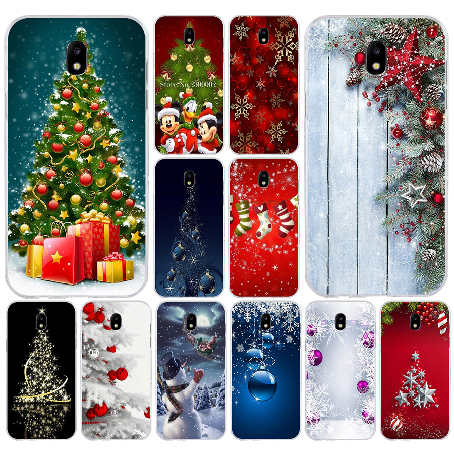 38SD Christmas holiday Tree New Year Soft Silicone Tpu Cover phone Case for Samsung j3 j5 j7 2015 2016 17 j2 prime j6 Plus 2018 image