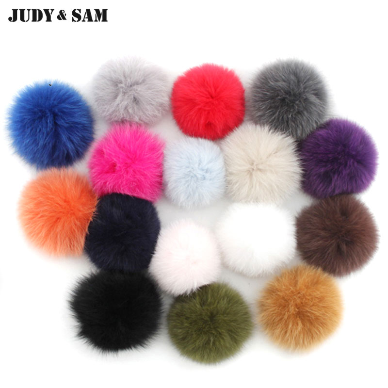 Wholesale 10pcs/lot 16 Colors Fur Pom Pom Fluffy Genuine Fox Fur Ball Key Chain Pompon Skullies Beanies Bag Charm Accessories mink skullies beanies hats knitted hat women 5pcs lot 2299