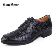 2017 крокодил острыми носами Мужская модельная обувь натуральная кожа Мужская Свадебная обувь Буле черный Официальная обувь, EJ8858 мужчин плюс Размеры