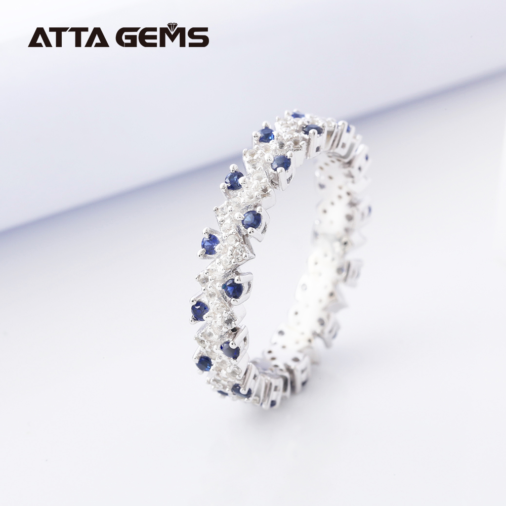 Blue Sapphire Sterling Silver Rings Size 6/7/8 Simple Fashion Design Created Sapphire Small Round Top Jewelry Brand