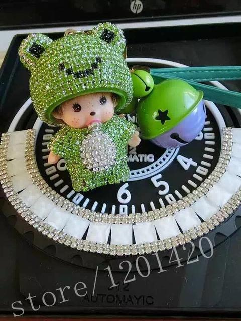 La Cabeza de la rana de Dibujos Animados MONCHHICHI llavero de Cristal llavero Rana Monchichi muñeca llavero sleutelhanger Mujer encanto del bolso de regalo hecho a mano