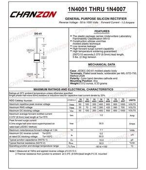 100pcs Rectifier Diode 1A DO-41 (DO-204AL)