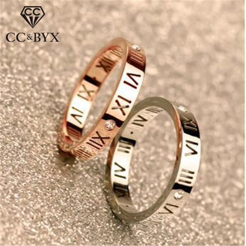 CC Couple Rings-For-Women Rome Digital Silver Ring Lovers Jewelry Bridal Wedding Engagement Ringen Fashion Bijoux Femme CC584