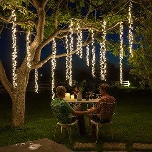 Image 1 - 4m x 2.5m לחיבור led מחרוזת אורות חג המולד גרלנד led racimos פיות אורות חיצוני מסיבת גן החתונה וילון קישוט