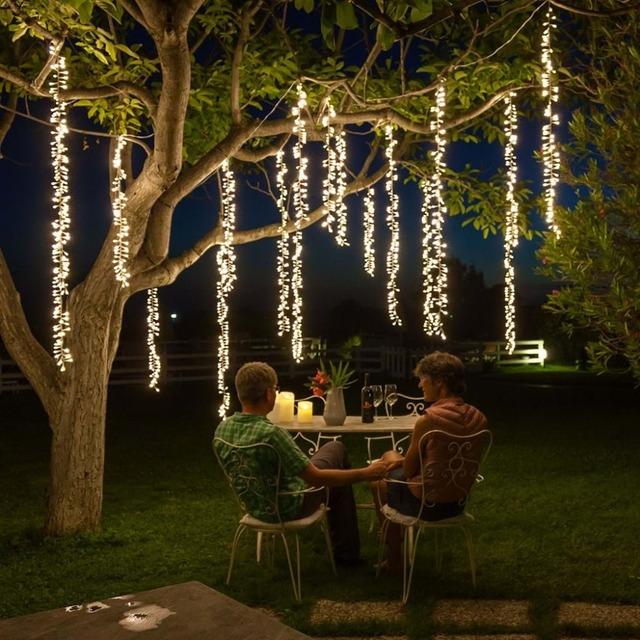 4m x 2.5m לחיבור led מחרוזת אורות חג המולד גרלנד led racimos פיות אורות חיצוני מסיבת גן החתונה וילון קישוט