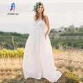 Simple Spaghetti Straps Ivory A-Line Wedding Dress Chiffon Floor Length Zipper Back Bridal Gowns