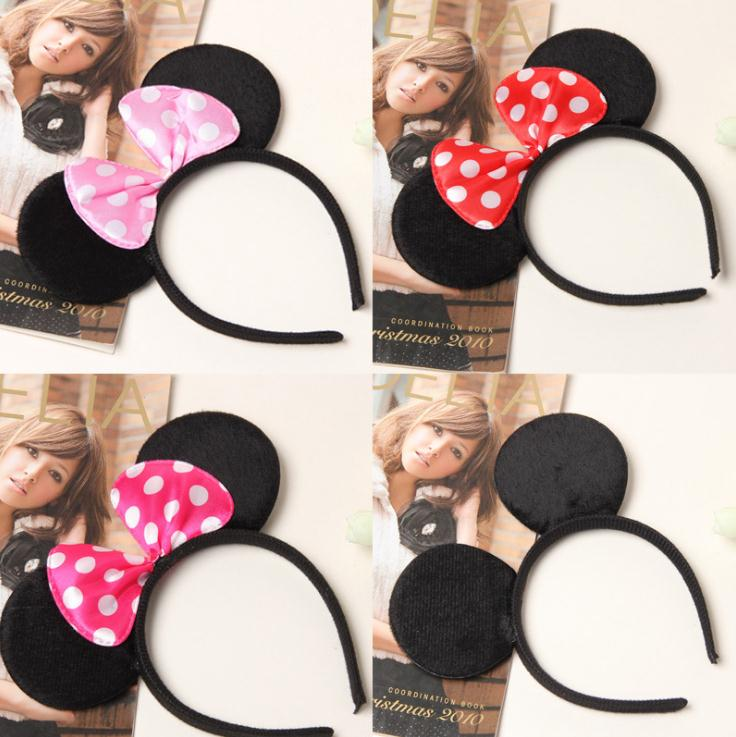 Disney Headdress Plush Mickey Head Minnie Ears Girls Hair Bands Kawaii Plush Toys For Children Girl's Birthday Gifts