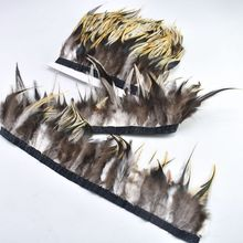 Top quality 1Meters natural Pheasant feathers trimming Crafts plumas 10-15cm DIY party ribbon for clothes decoration