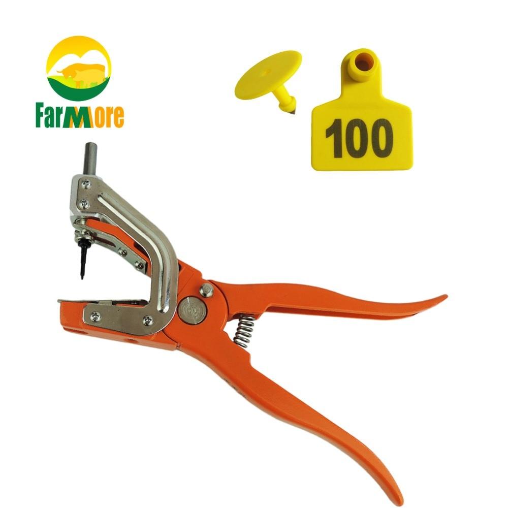 Set Pig Goat Hog Cattle Cow Ear Plier Applicator Puncher Tagger+100 Tags Kit