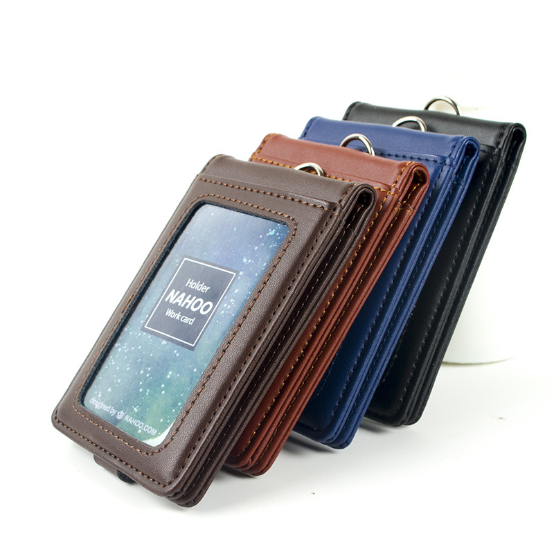 Nahoo Vertical Style ID Genuine Leather Badge Holder Business Case Card Holders Name Tag Id Card Lanyard Retractable Lanyard middle clerk working id card holder exhibition identification card cover tag aluminium alloy metal staff badge for colleagues