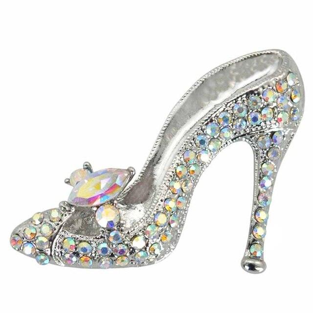 Charm Rhinestone Lady High-heeled Shoes Brooch Pins Women Garment Party  Decoration Fashion Jewelry Accessory Gift Brosche XZ019 b55cb42378f3