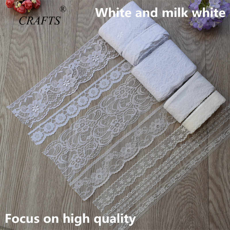10 Yard DIY Embroidered Pure LaceTrim Fabric  White New Lace Sales Tape  For Sewing Wedding Decoration
