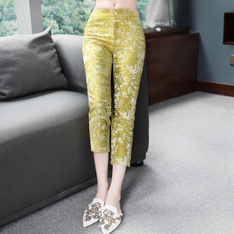 High Quality   Pants   2019 Spring Summer   Pant   Women Vintage Embroidery Print Skinny Leggings Pencil   Pants   &   Capris   Yellow White XXL