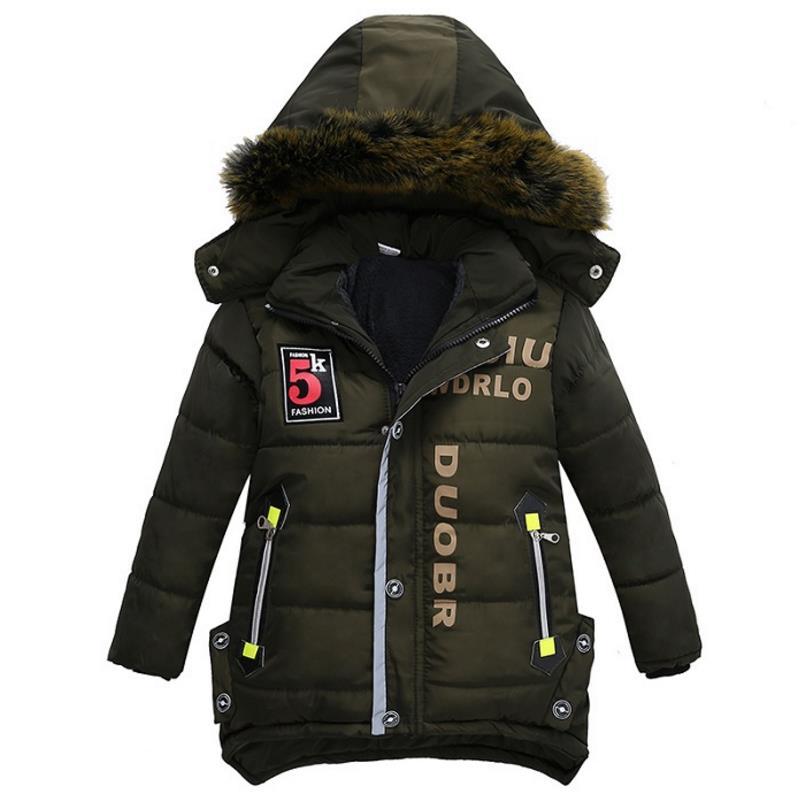 Детская зимняя куртка хлопковая одежда с капюшоном для мальчиков теплая зимняя куртка, пальто для маленьких мальчиков 3 - 6 лет, Детская верх...