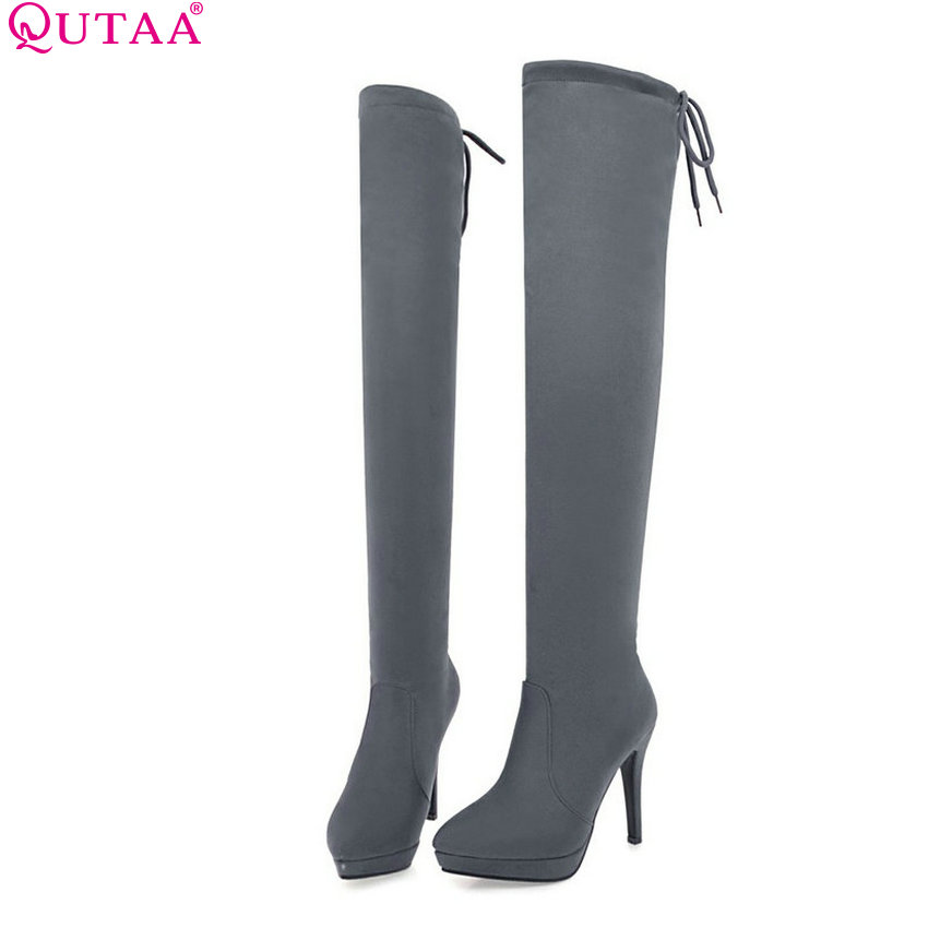 QUTAA 2017 Women Over The Knee High Boots All Match Pointed Toe High Quality Thin High Heel Pointed Toe Women Boots Size 34-43 qutaa 2017 women over the knee high boots all match pointed toe high quality thin high heel pointed toe women boots size 34 43