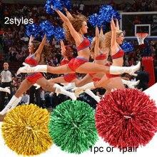 Pompons metálicos de plástico para dança, 1 par/1 par, bolinhas metálicas para alegrar, pom, bola decoradora de clube e dança, esportes fonte de fornecimento