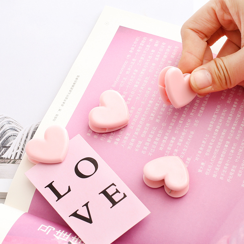 E33 4 Pcs/lot Love Pink Heart Cute Pushpin Clip Thumbtack Pins Decorative DIY Tool