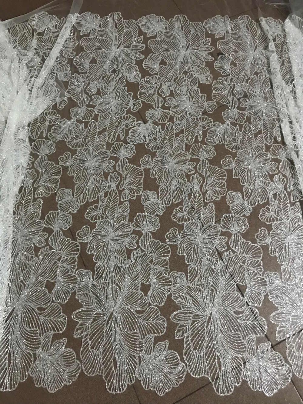 Hot selling Sat 10 2716 glued glitter sequins lace fabric African French net tulle Lace Fabric