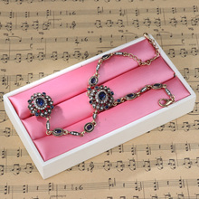 2018 Fashion Bohemian Blue Stone Charm Bracelet Link Finger Ring Antique Gold Crystal Turkish Jewelry Women Accessories