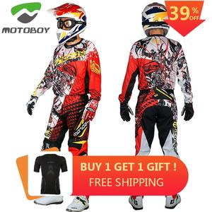 new Motoboy men's professional offroad motocross racing polyester jersey Tshirt and pant suit set with colored printing