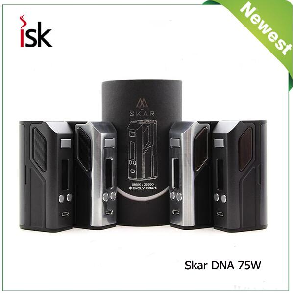 100% Original Lost Vape Skar DNA75 TC Mod DNA 75W Evolv Chip TC Box Mod Electronic Cigarettes Mods e-cigarettes Vape Mods lost vape malstrom v2 bottom feed rda