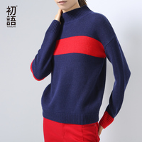 Toyouth 2016 New Arrival Acrylic Casual Pullovers Sweaters Autumn Striped Printed Loose Turtleneck Sweaters
