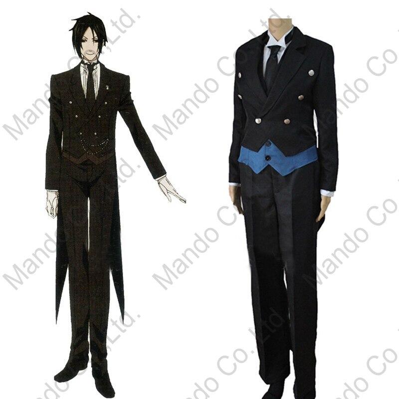 Anime Black Butler 2 Kuroshitsuji Sebastian Michaelis Costume Cosplay - Costumi di carnevale