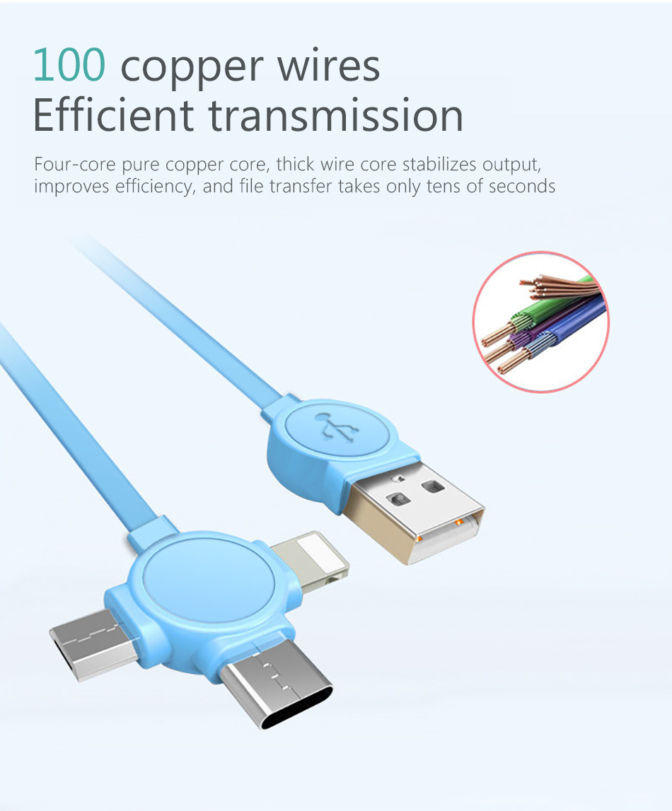 NOHON 3 in 1 USB Cable For iPhone X 8 7 6 Cable Micro USB Type C Cable For Samsung S9 S8 Fast Charging Date Cable Charger Cord (4)