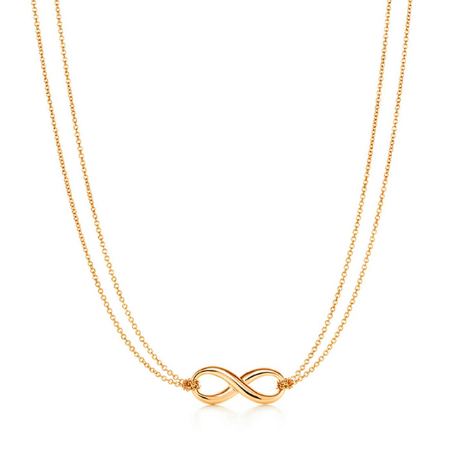 Dainty Infinity Necklace Bow Double Chain Eternity Jewelry Tiny