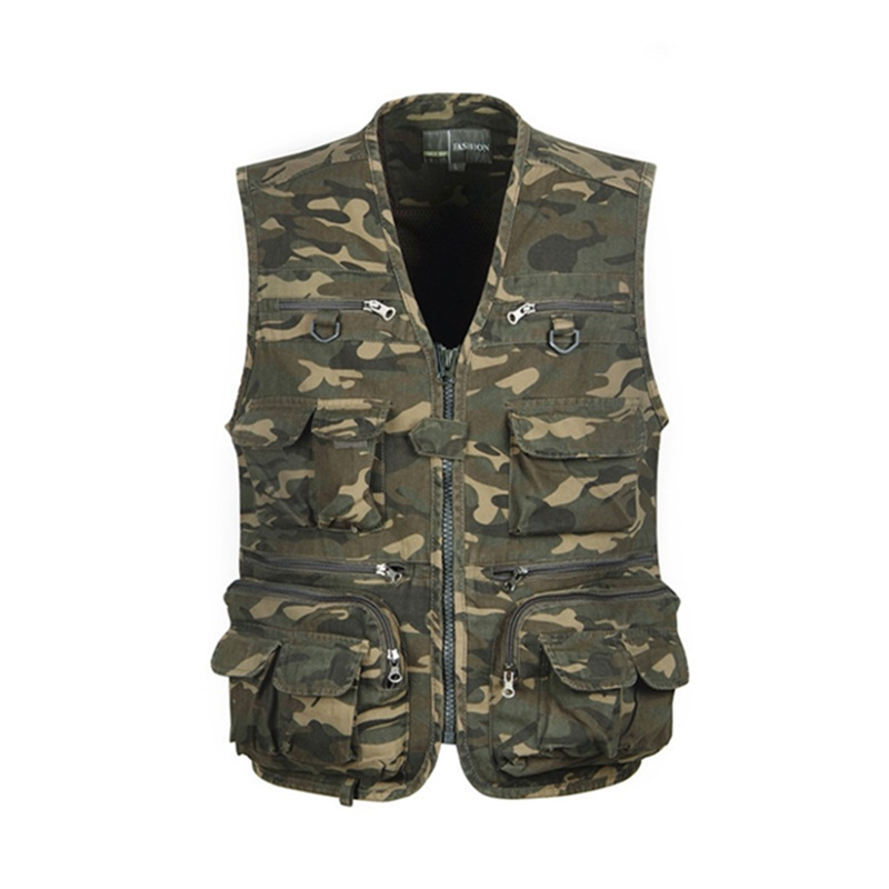 Men Camouflage Fishing Hunting Waistcoat Cargo Outdoor Outwear Waistcoat Multi-Pocket Photography Recreational Fishing Vest jungle new outdoor men s recreational fishing hunting baseball cap bionic camouflage