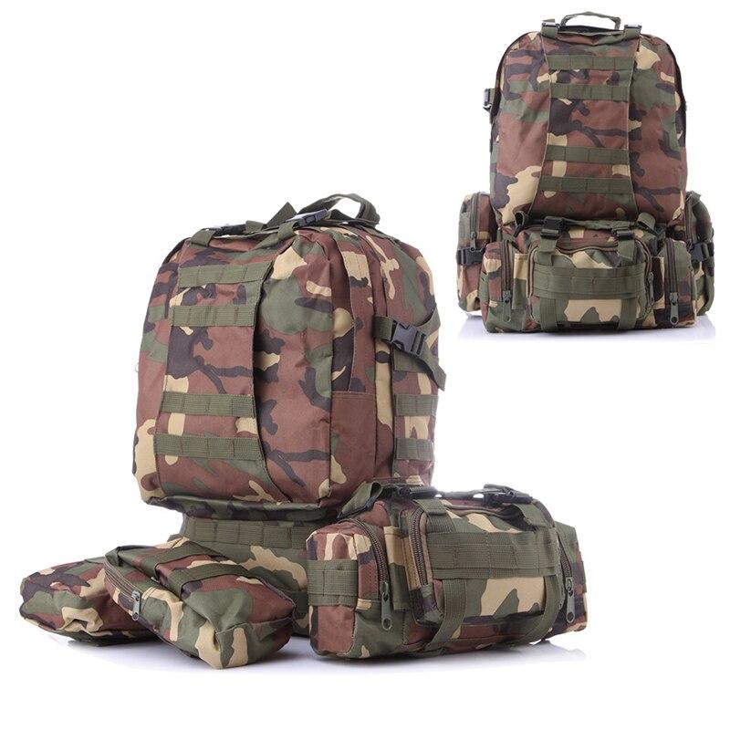 En plein air de Grande Capacité Sac À Dos Combiné Amovible Sacs Ensemble 3D Tactiques Pack Camping À Dos de Randonnée Molle D'infanterie Militaire Camo