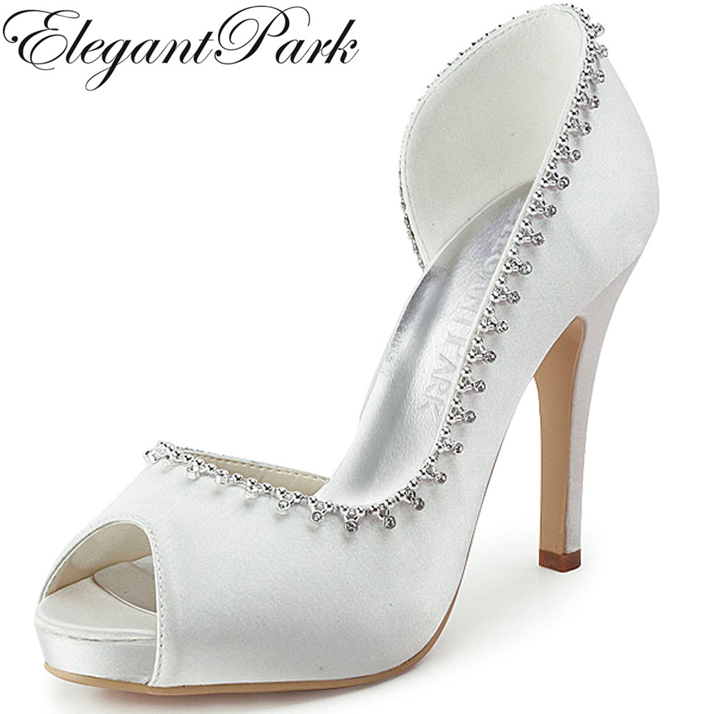EP11082-IP Peep Toe Platform High Heel Prom Evening Pumps Rhinestones Satin Bride Lady Women Bridal Wedding Shoes White Ivory ep2094ae navy blue teal women evening party pumps high heel peep toe satin bride bridesmaids bridal wedding shoes ivory white