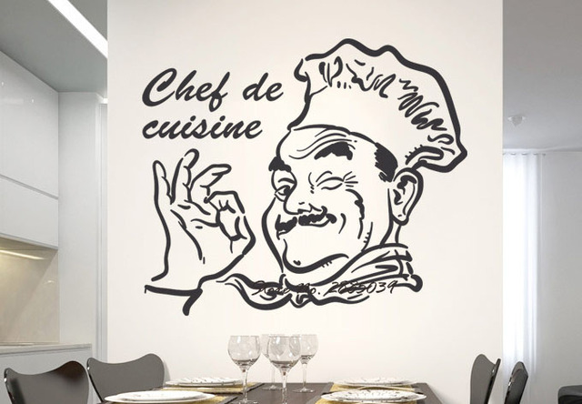 Kitchen Wall Sticker Chef De Cuisine Removable Sticky Vinyl Home Decor  Diningroom Wall Decal Quote Waterproof High Quality LA256