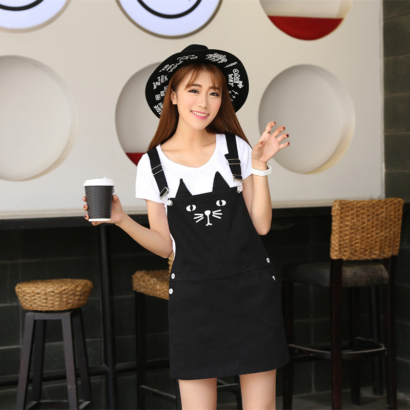 e2c71d7684 Black cute plus size lolita jeans overall braces dress with suspenders  women s clothing short mini cat printed denim dresses-in Dresses from  Women s ...