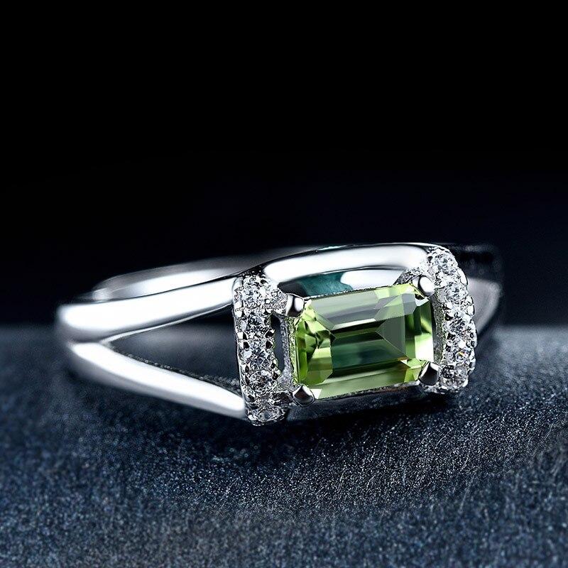 DOYUBO de luxe en argent massif Olivine pierre anneaux pour femmes et hommes taille réglable 925 en argent Sterling anneaux bijoux précieux VB051 - 4