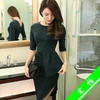 2016 Spring Dress Sleeve Slim Women Collect Waist Asymmetry Packet Buttock Dresses Black Dark Green 326