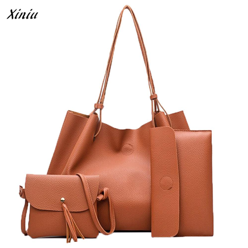 xiniu 4pcs Women Fashion Four Sets Women Leather Bag One shoulder bags Purse bolsa femin ...
